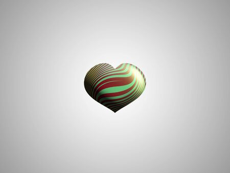 Elegant red copper and green metallized balloon with heart shape photo