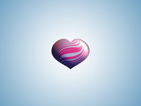 Pink and silver striped heart balloon in a background with sober romanticism photo