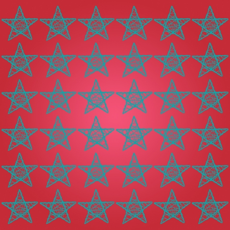 Red square background with green stars pattern Stock Photo - 13838147