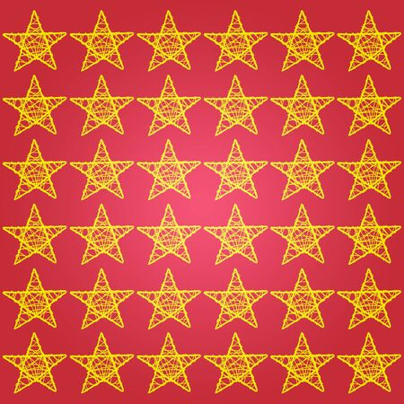 Yellow protection stars over red background for xmas Stock Photo - 13838984