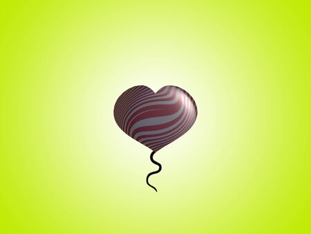 spermatozoid: Lemon green background with a metallized romantic heart balloon floating Stock Photo
