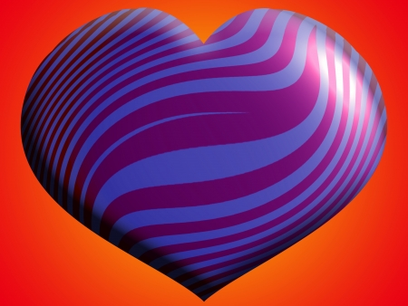 aniversaries: Purple striped metallic heart balloon over orange brilliant background