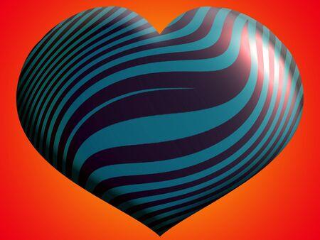 cian: Copper and cian metallic heart balloon over orange brilliant background Stock Photo