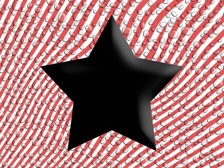 Black five points star over wet striped red and white background Stock Photo - 13838148