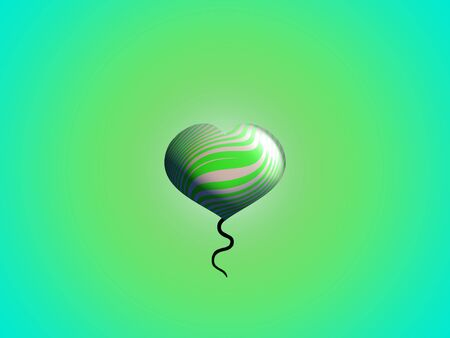 Green heart eco balloon floating with a little rope hanging photo