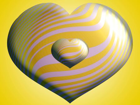 Yellow and white striped silver hearts of two sizes photo