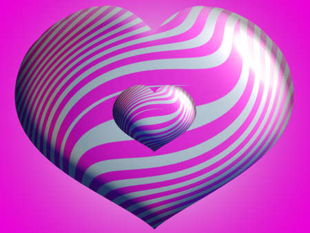 Big and little metallic striped hearts in pink and silver Stock Photo - 13838983