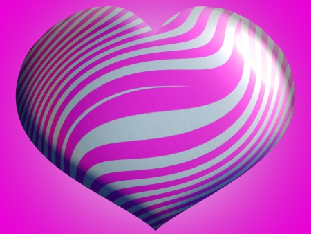 Enormeous pink and silver 3d bright heart Stock Photo - 13838979