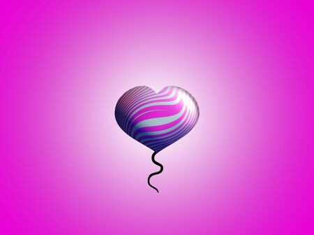 Femenine romantic pink and silver heart floating balloon photo