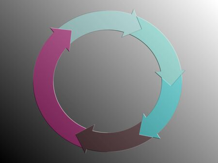 rotations: Pink purple and aqua transparent arrows in a circle of a closed system Stock Photo
