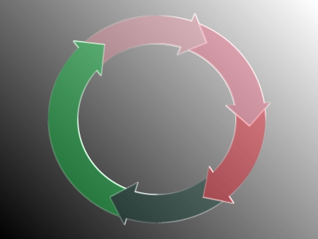down beat: Recycle, circle of arrows diagram in pink and green