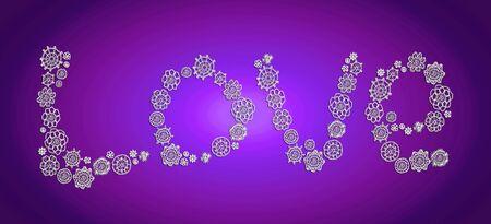 Love word in white over indigo purple photo