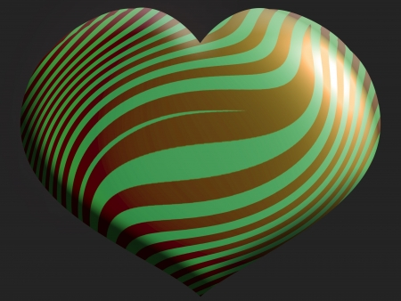 Gold bronze and green heart shaped metallic balloon isolated on black photo
