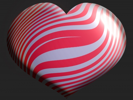 Silver heart balloon with red stripes isolated on black photo