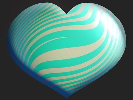 Aqua and silver striped heart balloon isolated on black photo