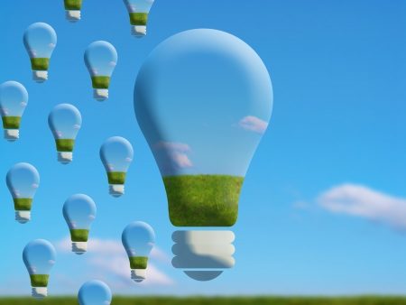 Conceptual ecologic save flying light bulbs image  photo