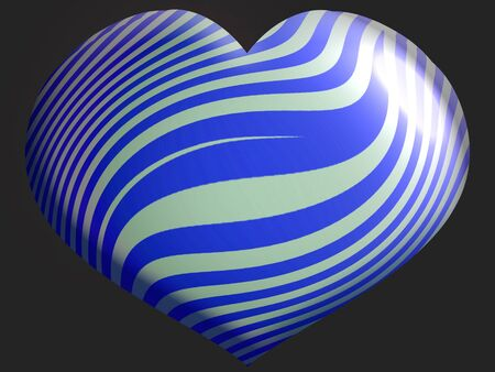 Blue and silver striped heart  balloon isolated on black photo
