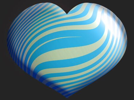 Turquoise and silver strpes on heart balloon isolated on black photo