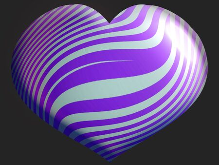 Violet and silver heart with stripes over black photo