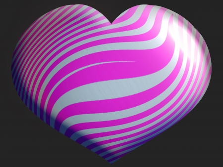 Pink purple and silver striped heart balloon over black photo