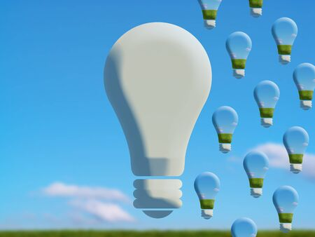 Changing lightbulbs for ecology, conceptual image on country photo