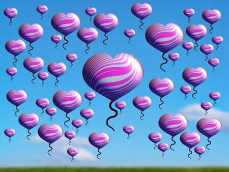 spermatozoid: Pink flying hearts over green field and blue sky Stock Photo