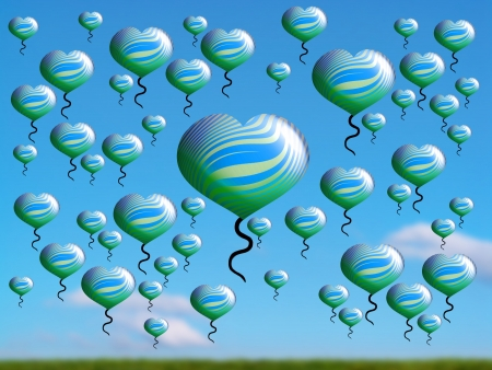 Flying balloons over a field in blue clear sky photo