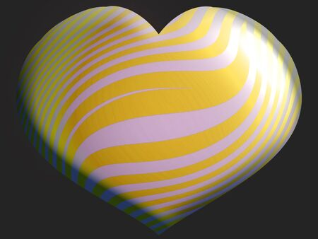 Golden yellow and silver heart shape balloon photo