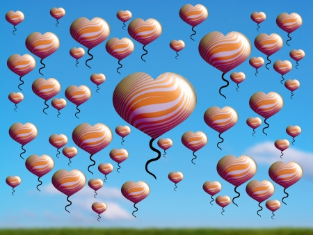freeing: Imagination, flying hearts balloons over sky and field