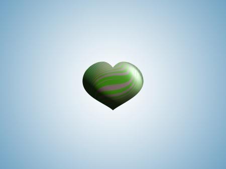 Green small heart shape balloon in clear sky photo