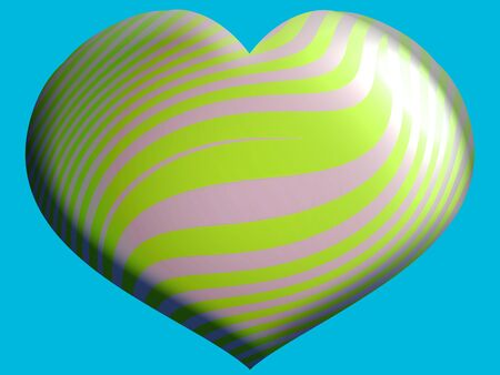 Luminous colorful heart shape balloon in green photo