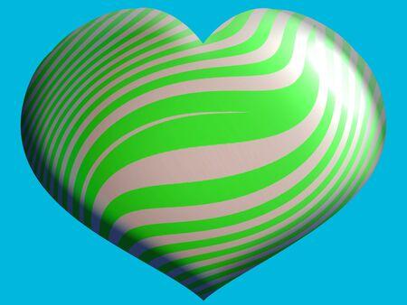 purpleish: Green heart shape balloon Stock Photo