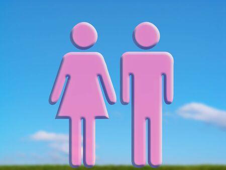 dualism: Pareja en el amor, los hombres y las mujeres de color rosa formas en el cielo en el campo