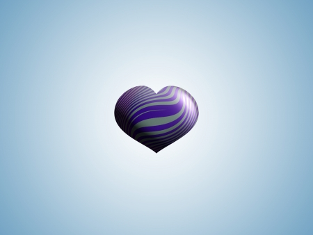 Purple striped silver heart in light blue background photo