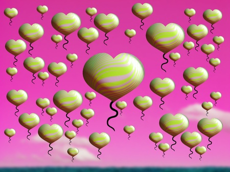 freeing: Golden hearts flying in love pink abundance background
