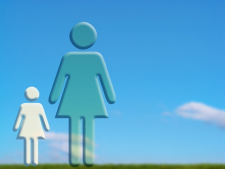 Mum and daugther on a green field Stock Photo - 15750178