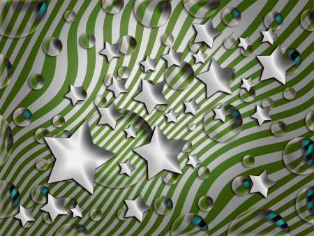 Green and silver striped background with stars and bubbles photo