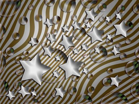 Stars and bubbles in sober striped background photo