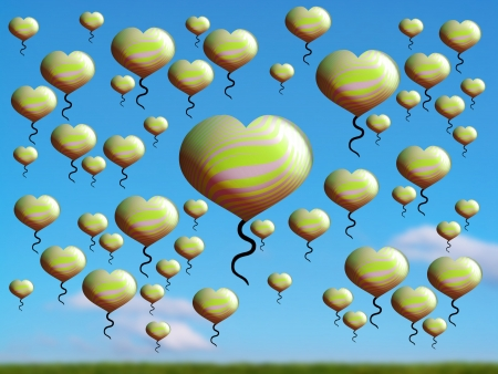freeing: Light green heart balloons abundance over green field