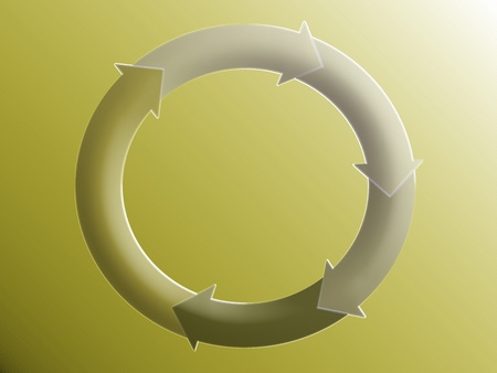 down beat: Circle, circular, arrows, system, green, sober, graphic, economy, incomes Stock Photo