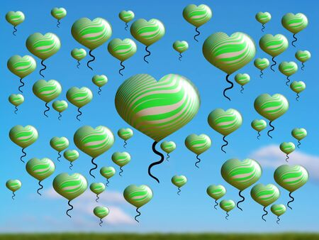 spermatozoid: Green heart flying over clean blue sky over field