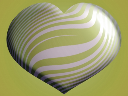 Big sober and elegant metallic heart shape balloon in silver and olive green