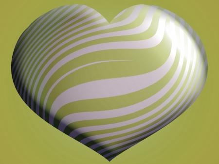 sobrio: Gran sobrio y elegante coraz�n met�lico globo en forma de plata y verde oliva