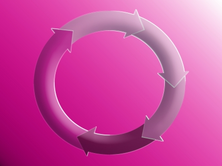 Pink cycle circuit, arrows, circular, circulation Stock Photo - 25304919