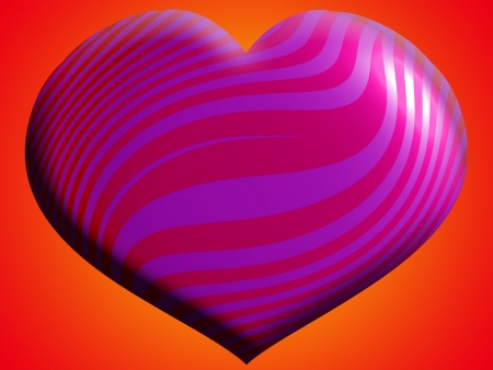 Pink heart with stripes over orange background photo