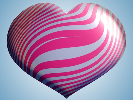 Big heart shape with lines in silver and pink photo