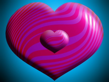 Pink big and small hearts over blue photo