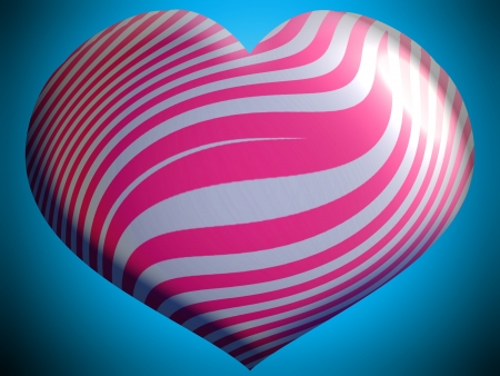 Pink and silver heart over blue photo