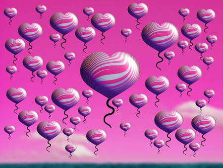 multiplying: Abundance of love increasing, conceptual, hearts, balloons, pink, field Stock Photo