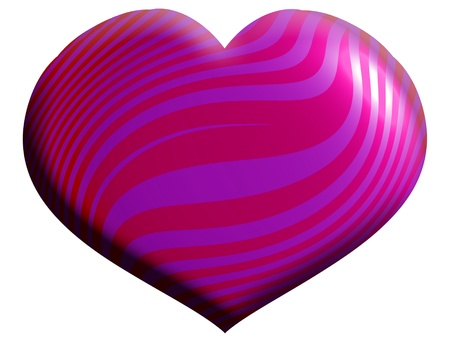 femenine: Pink heart with waves isolated on white background